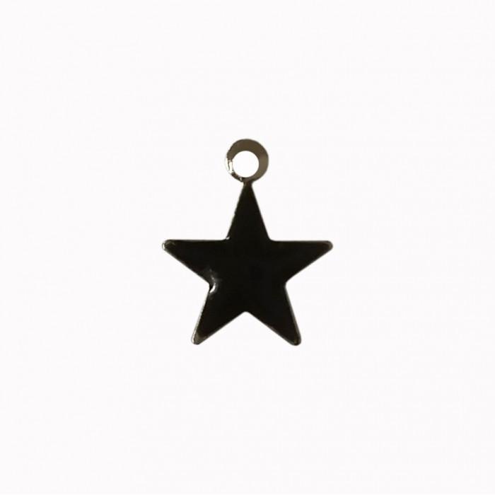 Sequin émaillé forme étoile 11mm 1 accroche noir x1