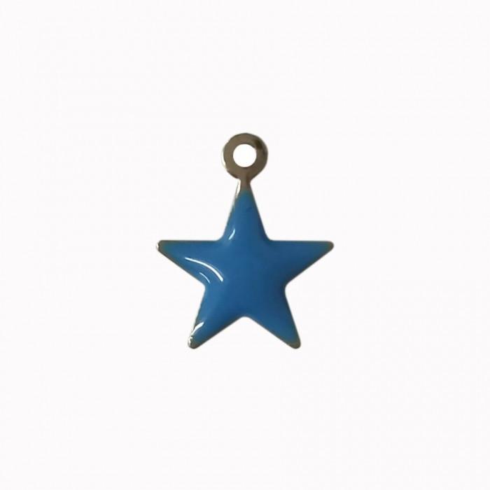 Sequin émaillé forme étoile 11mm 1 accroche bleu x1