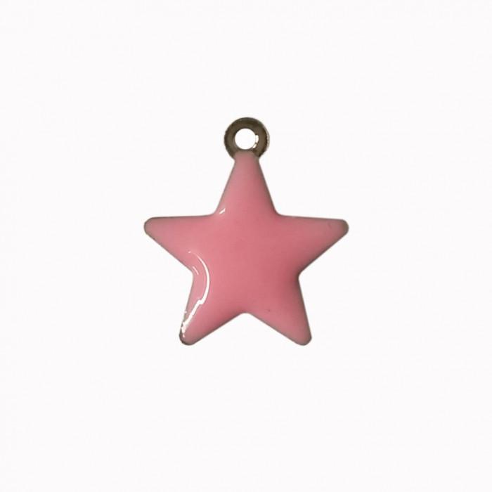 Sequin émaillé forme étoile 14mm 1 accroche rose clair x1