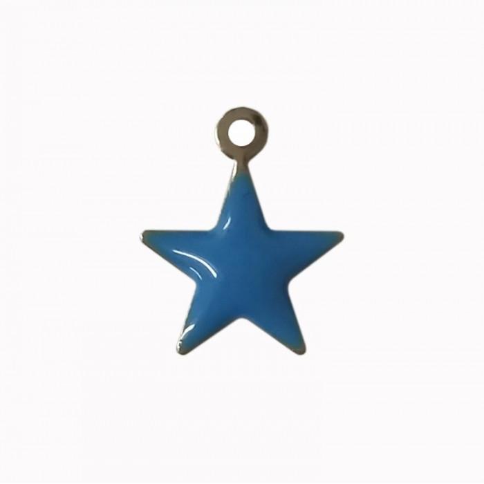 Sequin émaillé forme étoile 14mm 1 accroche bleu x1
