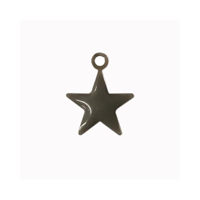 Sequin émaillé forme étoile  14mm 1 accroche gris x1