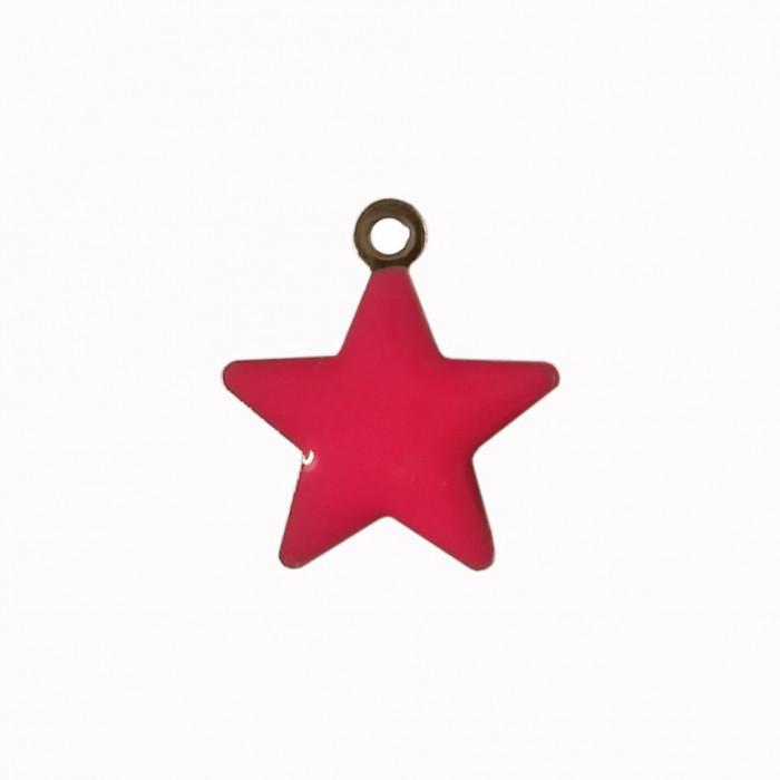 Sequin émaillé forme étoile  14mm 1 accroche rose  x1