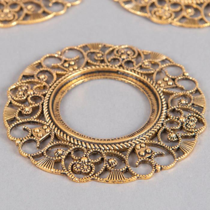 Estampe filigranée anneau 76mm doré ancien x1
