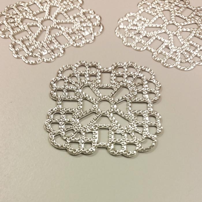 Estampe filigranée carrée 36mm argent x1