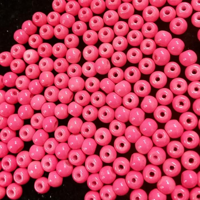 Perles en verre unies corail 4mm x10