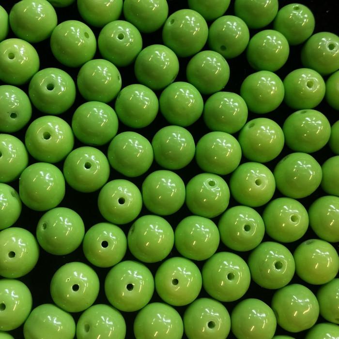 Perles en verre unies vert pomme 10mm x10