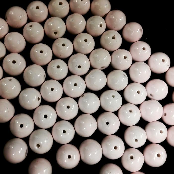 Perles en verre unies rose pâle 12mm x5
