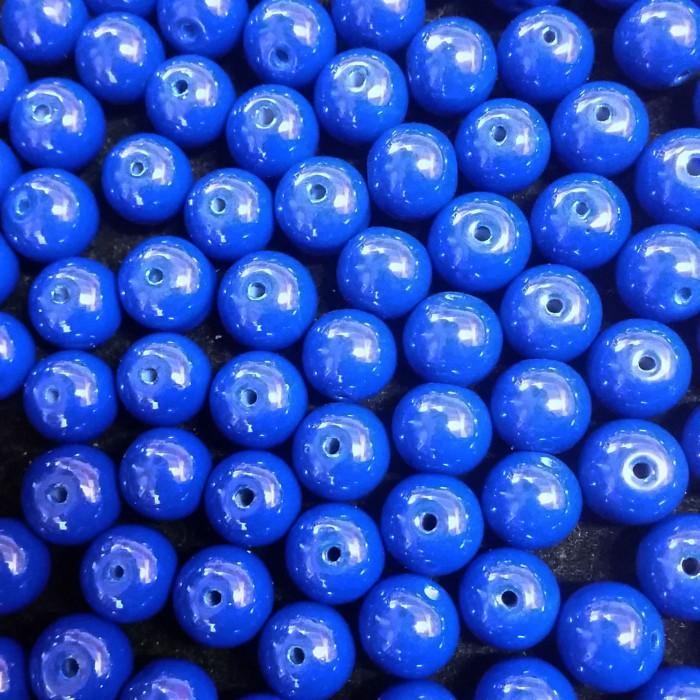 Perles en verre unies bleu roi