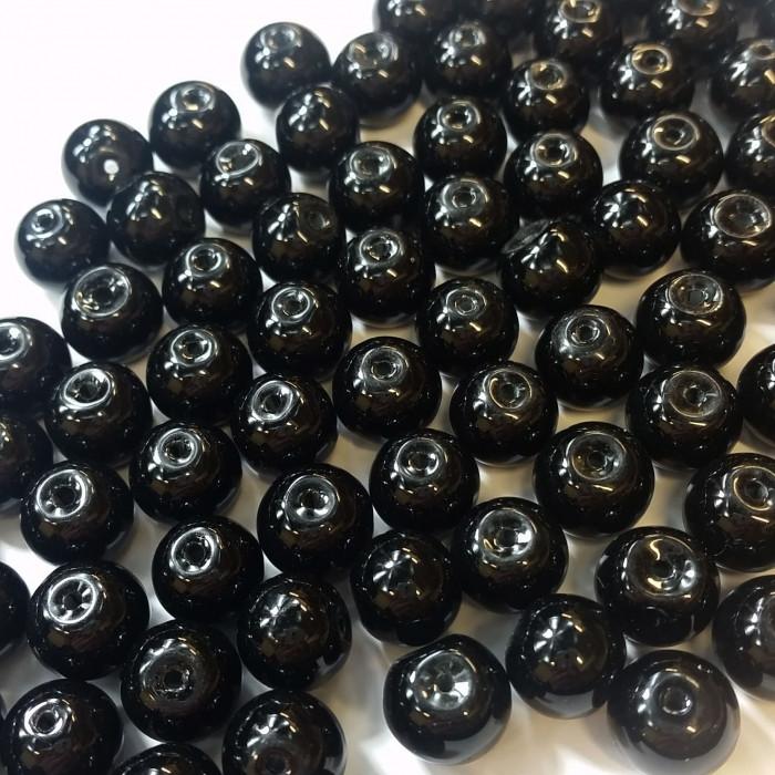 Perles en verre unies noires