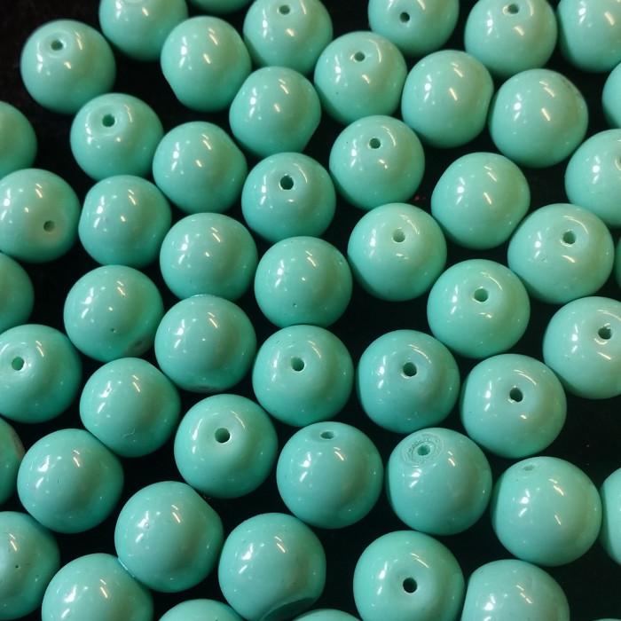 Perle en verre unies turquoise