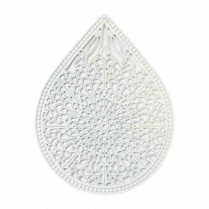 Estampe filigrane forme goutte blanc x1