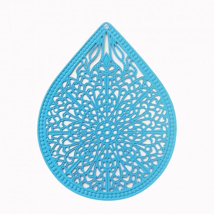 Estampe filigrane forme goutte bleu x1