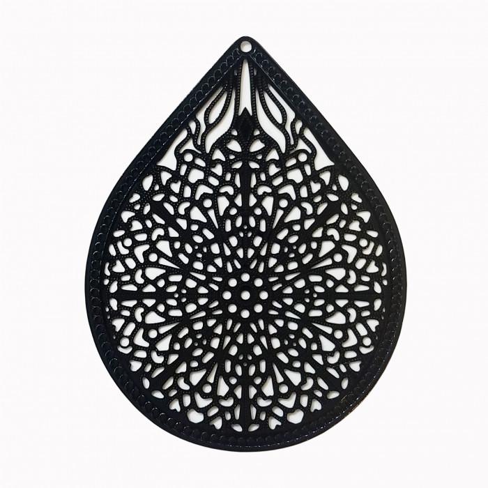 Estampe filigrane forme goutte noir x1
