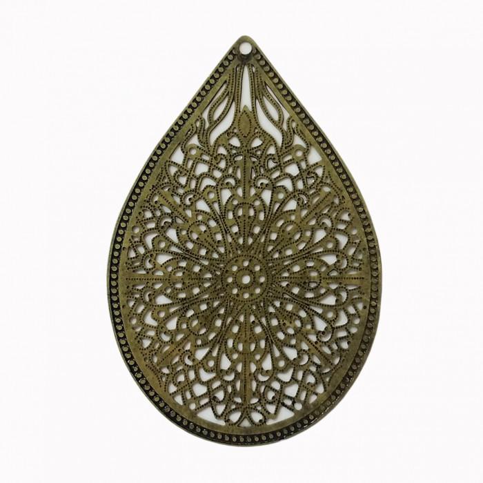 Estampe filigrane forme goutte bronze x1