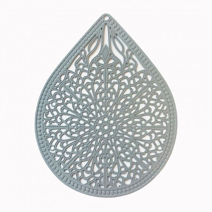 Estampe filigrane forme goutte gris x1