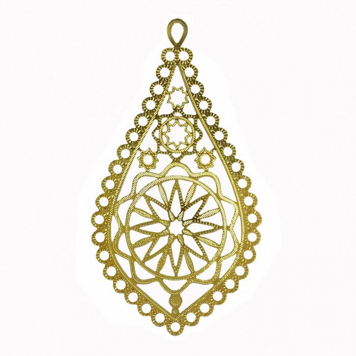 Estampe filigrane étoile 65mm doré x1