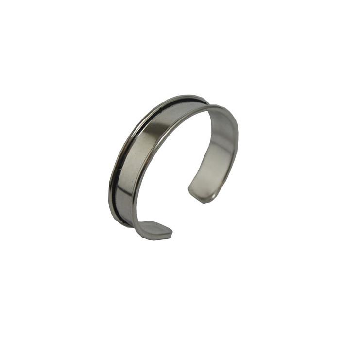 Manchette métal avec rebord à personnaliser argentée 20 mm x1