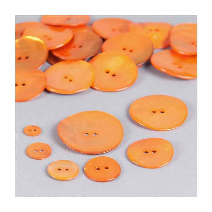 Bouton en nacre deux trous orange clair
