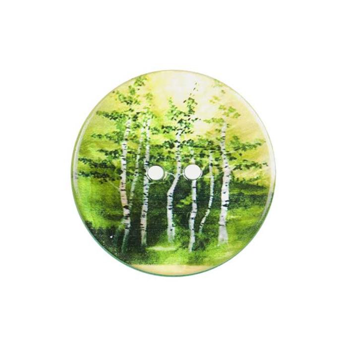Bouton de nacre imprimé arbres verts