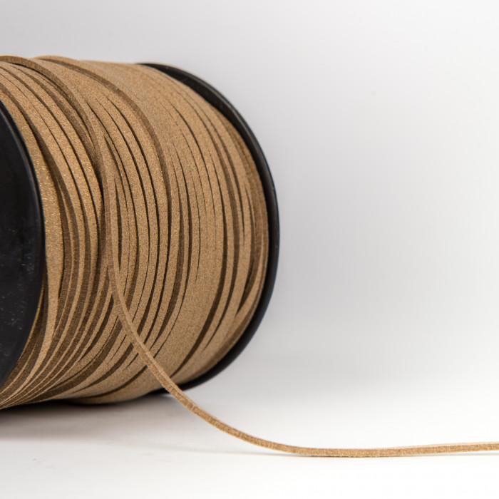 Cordon Suédine Pailletée Métallisée 3 mm