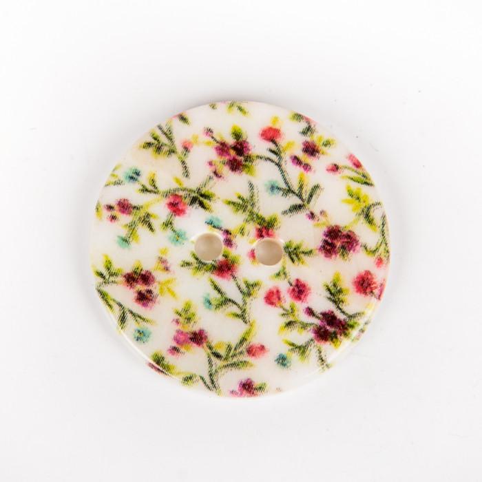 Bouton en nacre imprimée fleurs roses vertes