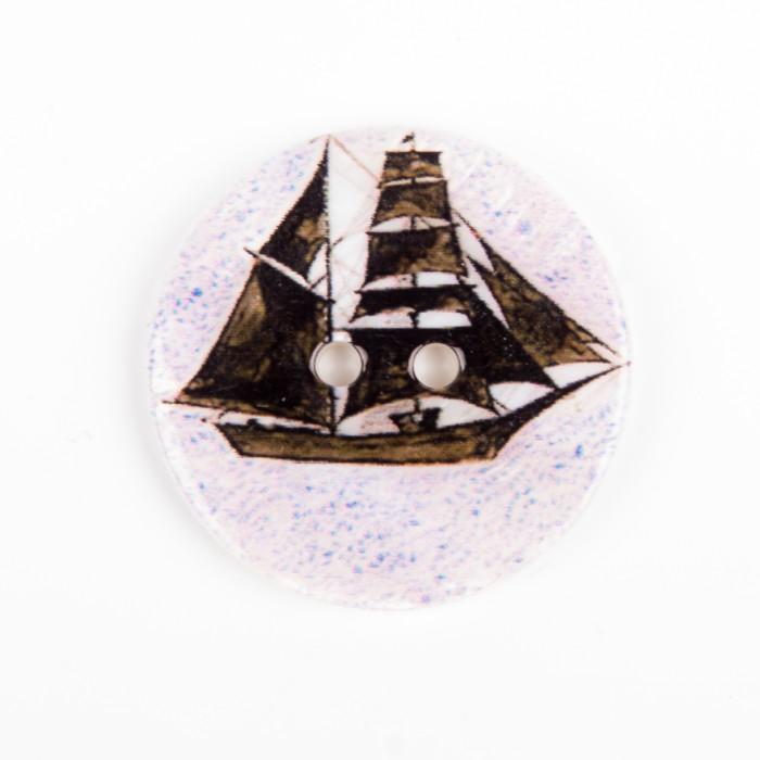 Bouton en nacre voilier