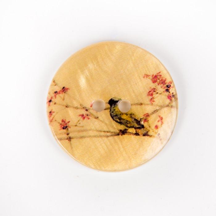 Bouton en nacre oiseau et fleurs