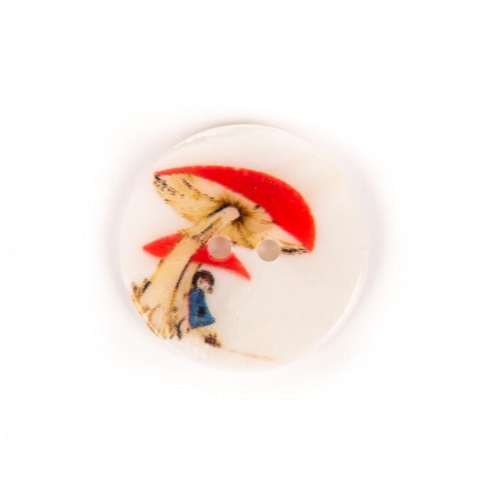 Bouton en nacre champignon rouge