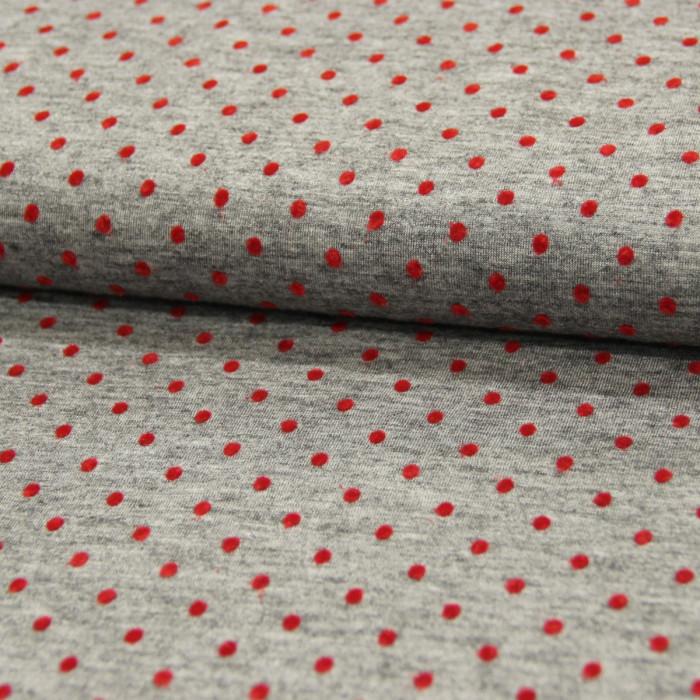 Tissu laine et viscose gris plumetis rouge x 10 cm