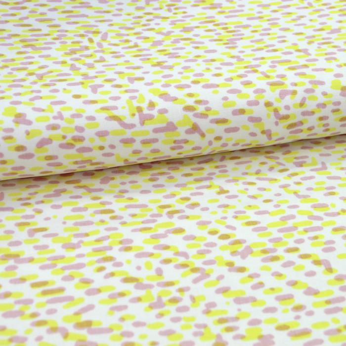 Tissu lin imprimé pointillisme jaune rose