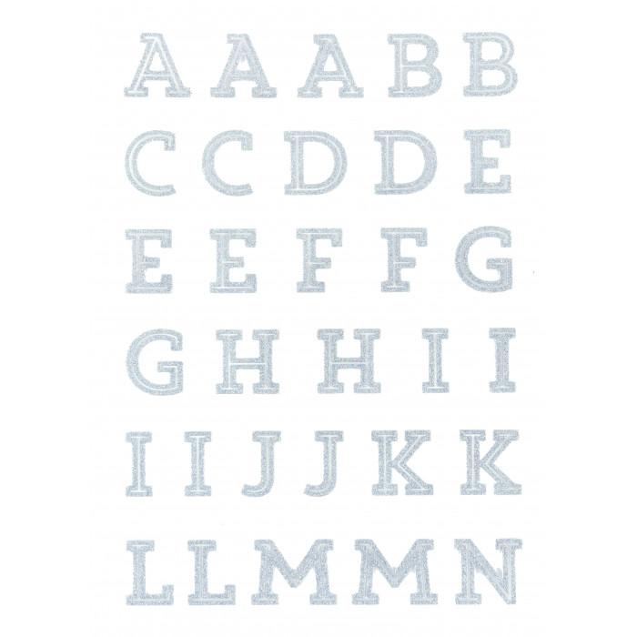 Alphabet à repasser glitter argent - thermocollant
