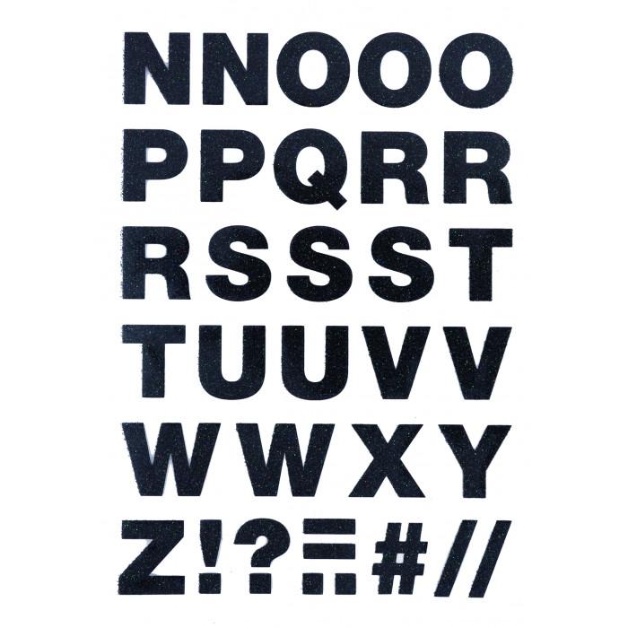 Alphabet à repasser glitter noir - thermocollant