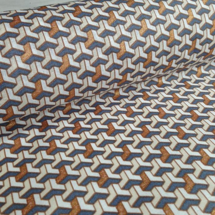 Tissu géométrique facette cuivre