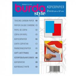Papier calque carbone Burda bleu et rouge