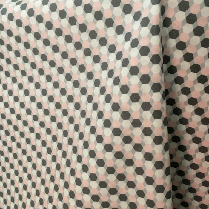 Tissu little cuties graphique rose et gris - Poppy