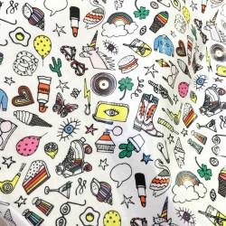 Toile cirée Rico design - icones multicolores