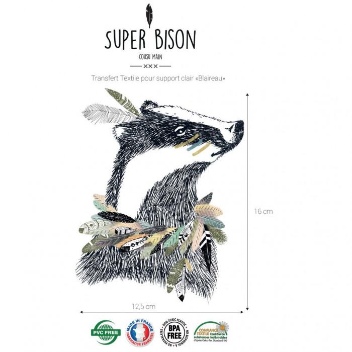 Transfert textile blaireau - Super Bison