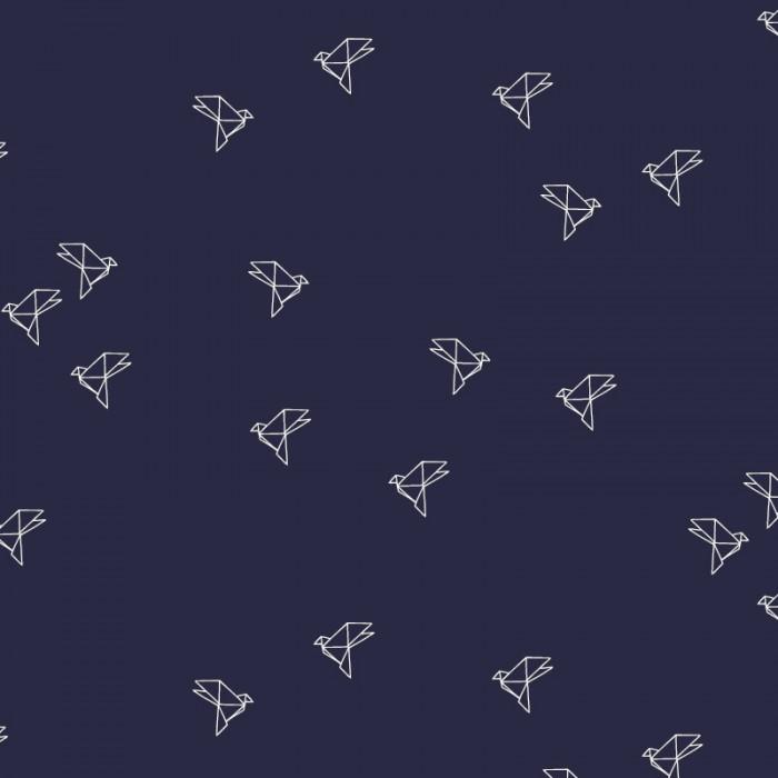 Tissu Bye Bye Birdie Navy - Atelier Brunette