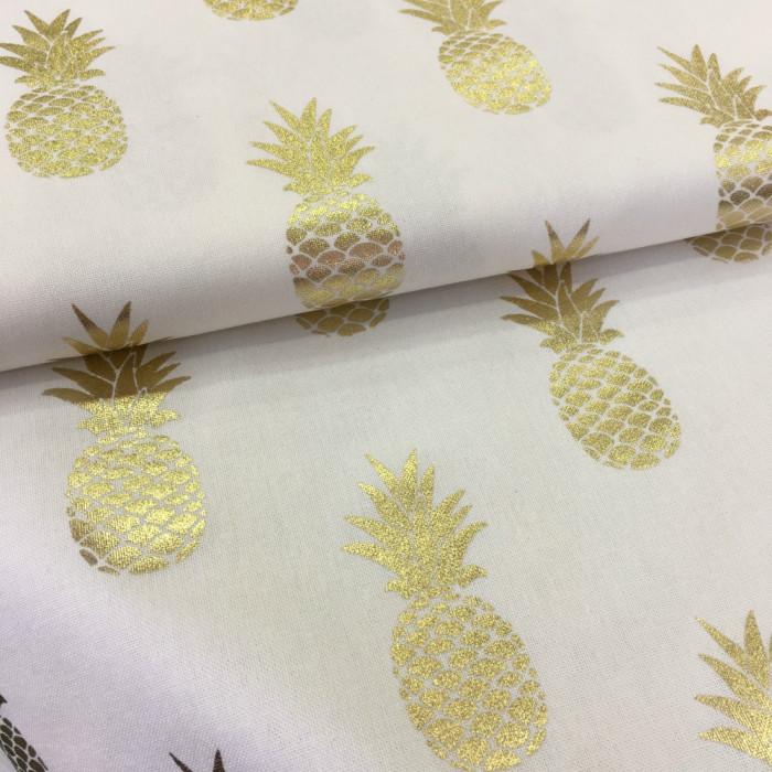 Tissu blanc ananas or x 10 cm