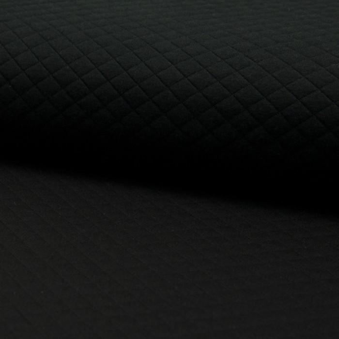 Jersey matelassé - noir x 10 cm