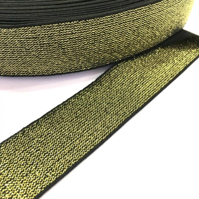 Élastique noir lurex doré x 10 cm