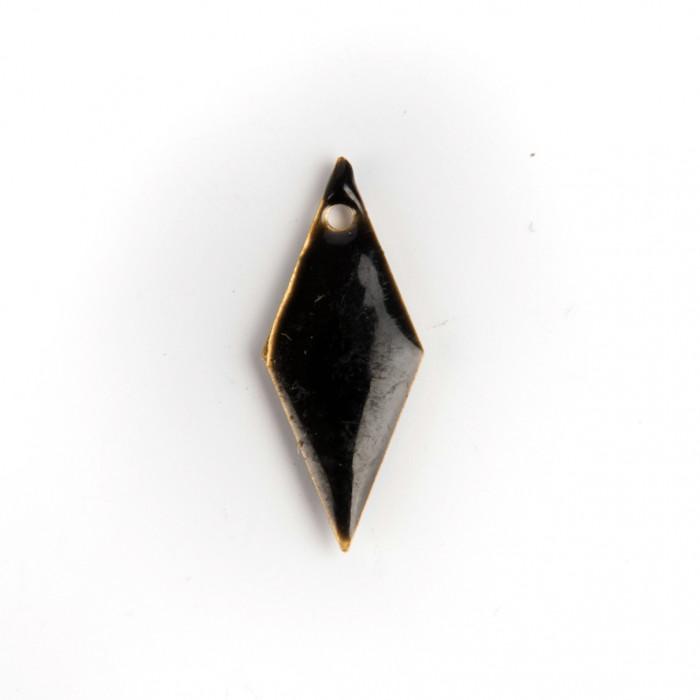 Sequin émaillé losange noir 19 mm x1