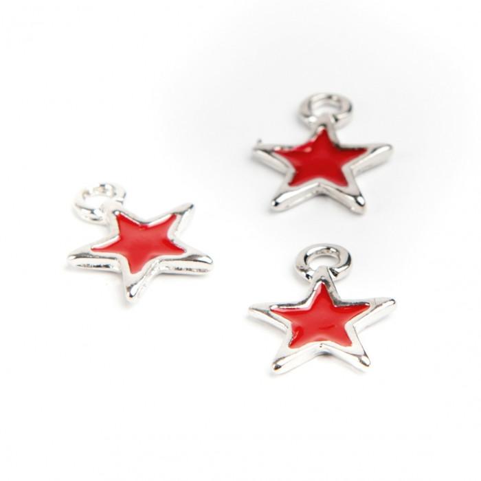 Breloque étoile émaillée 12 mm rouge