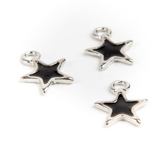 Breloque étoile émaillée 12 mm noir