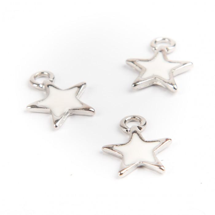 Breloque étoile émaillée 12 mm blanc x1