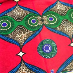 Tissu bazin motifs africains ethnique rouge
