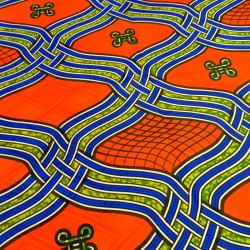 Tissu bazin motifs africains orange bleu