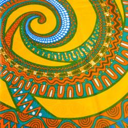 Tissu bazin motifs africains spirale jaune