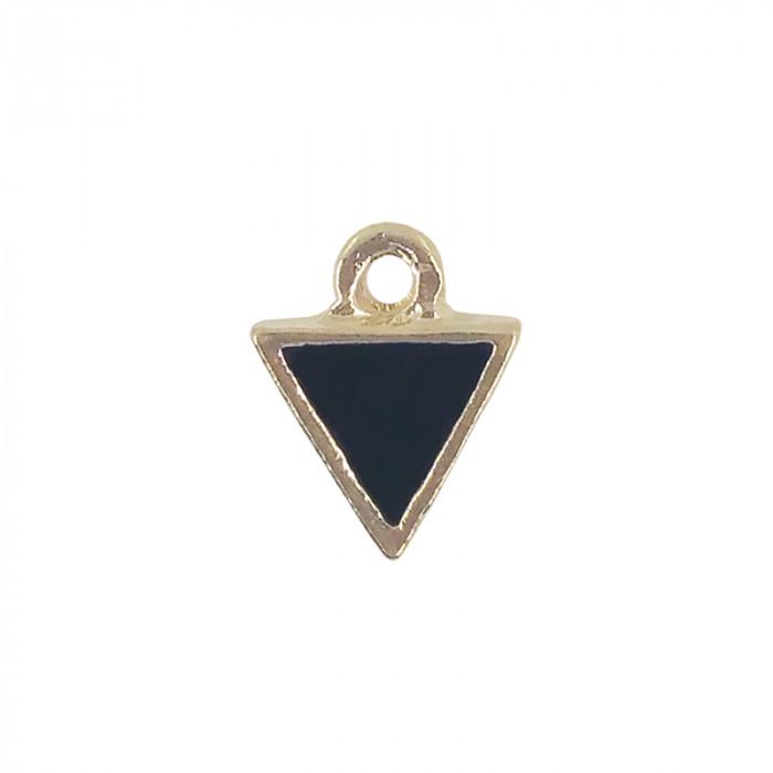 Mini breloque émaillée triangle noir 10 mm x1