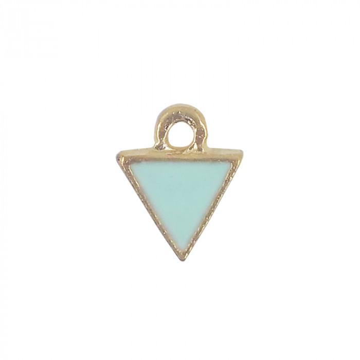 Mini breloque émaillée triangle mint 10 mm x1